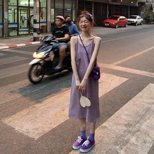 夏装韩国简约休闲纯色口袋吊带连衣裙清新宽松下摆开叉女长裙子