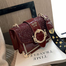 Ins Spring Baggage Girls 2019 New Single Shoulder Slant Baggage Girls Sequined Broad Shoulder Belt Small Square Baggage Bounty Girls Baggage