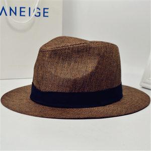 夏天大沿帽英伦大檐复古时尚棉麻料<span class=H>硬</span>挺男士草帽沙滩<span class=H>礼帽</span>爵士帽子