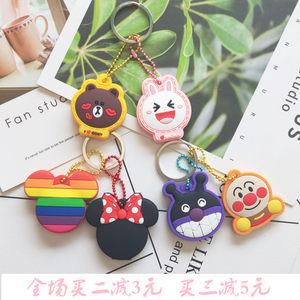 新品日本可爱卡通创意硅胶<span class=H>钥匙套</span>学生情侣女钥匙保护套钥匙扣挂件