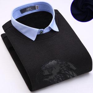 冬季假两件保暖衬衫领<span class=H>毛衣</span>男加绒加厚长袖针织衫青年套头修身衬衣