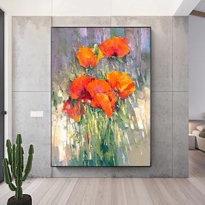 纯手绘<span class=H>油画</span>现代简约轻奢挂画抽象花卉装饰画卧室餐厅歺厅饭厅壁画