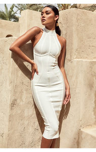 2018夏季新款无袖高端气质女性感露肩名媛显瘦<span class=H>包臀裙</span>绷带连衣裙