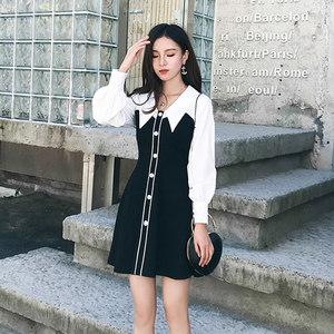 2018秋冬新款女装小香风娃娃领黑白撞色性感气质假两件<span class=H>连衣裙</span>潮