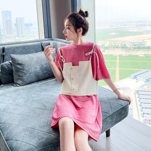 连衣裙女2019新款夏季流行<span class=H>女装</span>韩版两件套短袖T恤裙背带短裤套装