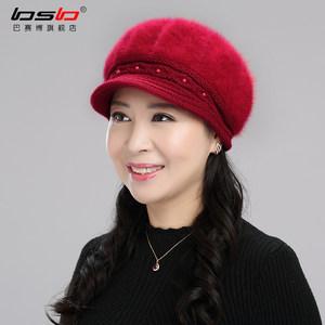 <span class=H>毛线帽</span>子女秋冬天画家帽加绒八角帽老人帽子女冬季贝雷妈妈保暖帽