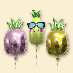 【伟伟气球】卡通<span class=H>菠萝</span>铝箔铝膜气球生日周岁派对装饰节庆布置用品