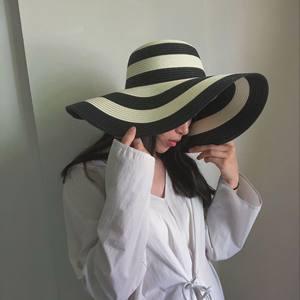 人间失格~ins北欧风超大檐太阳帽黑白条纹撞色遮阳帽大沿帽<span class=H>草帽</span>子