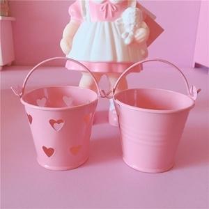 可爱少女心镂空迷你小铁桶粉色桌面<span class=H>收纳桶</span> 手提铁皮小桶ins风收纳