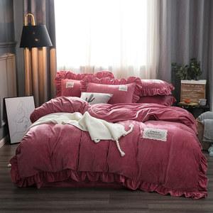 加厚保暖宝宝绒<span class=H>四件套</span>1.8m秋冬水晶绒被套床单纯色公主风床上用品