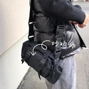 ONEMAX夏上新/日系街头工装机能休闲<span class=H>斜挎包</span>潮男女黑色多功能腰包