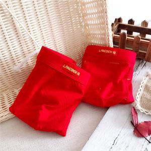 本命年男士红<span class=H>内裤</span>中腰舒适莫代尔棉质大红色结婚平角裤过年红短裤