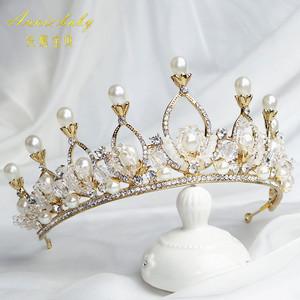 高端儿童公主皇冠<span class=H>发饰</span>女孩巴洛克水钻生日表演头饰女童王冠发箍