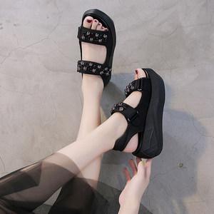 松糕厚底凉鞋女2019夏季新款百搭网红魔术贴增高黑色罗马运动凉鞋
