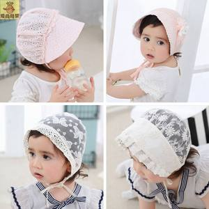新生儿帽子0-3-6-12个月婴儿<span class=H>太阳帽</span>幼儿遮阳帽宝宝胎帽男女公主帽