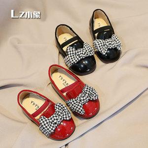 <span class=H>女童鞋</span>亮皮公主鞋红色单鞋蝴蝶结松紧带小童<span class=H>皮鞋</span>舒适舞蹈鞋儿童鞋