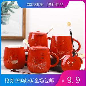 9块9包邮陶瓷杯子带盖勺迷你表情杯女可爱创意新款马克杯办公家用