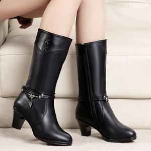 秋冬新款高跟中筒靴女<span class=H>靴子</span>棉靴马靴粗跟骑士靴冬款时尚妈妈<span class=H>女鞋</span>子