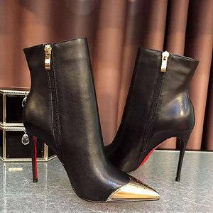欧美夜店尖头高跟鞋真皮短靴细跟女靴子秋冬加绒保暖<span class=H>裸靴</span>大码女鞋