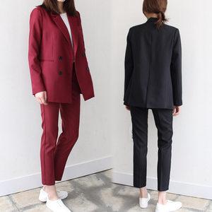 加肥加大码<span class=H>女装</span>2018新款秋装胖mm西装套装时尚显瘦小脚裤200斤女