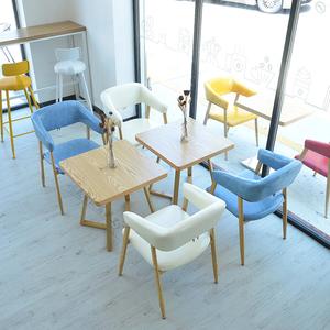 小清新奶茶甜品店<span class=H>桌椅</span>咖啡厅西餐厅休闲网红椅<span class=H>小吃店</span>铁艺<span class=H>桌椅</span>组合