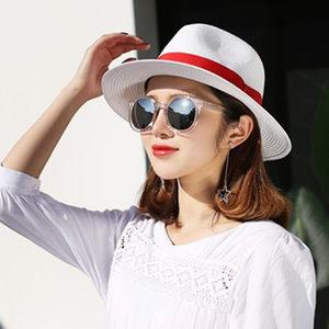 女夏白色<span class=H>草帽</span>海边度假沙滩防紫外线太阳帽爵士可折叠宽檐百凉礼帽