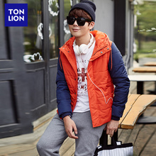 Tangshi men's cotton jacket collision color stitching Korean version cap cotton jacket leisure jacket young men's fitted jacket
