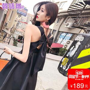 韩语琳空间2018夏装新款性感露背小心机连衣裙女装高腰显瘦短裙子
