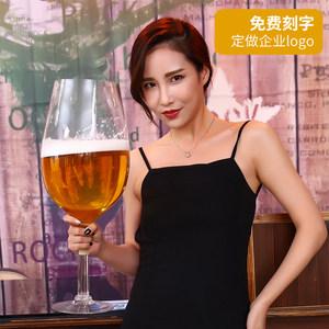 新品超大啤酒红<span class=H>酒杯</span>个性高脚英雄杯酒吧KTV餐厅娱乐专用刻字LOGO
