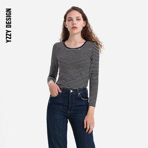 条纹打底衫女细条纹长袖<span class=H>T恤</span>带胸垫打底衣修身百搭2019新款