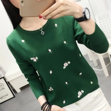 New style embroidery sweater for spring wear Korean version students wear short long sleeve knitted bottom sweater for autumn