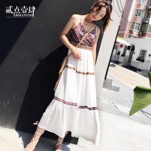 复古泰国民族风女装沙漠吊带连衣裙夏巴厘岛海边度假显瘦沙滩<span class=H>长裙</span>