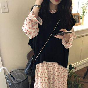 套装连衣裙女春季2019新款韩版中长款针织毛衣马甲碎花<span class=H>长裙</span>两件套