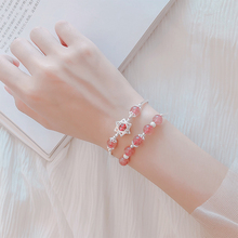 S925 Silver Strawberry Crystal Bracelet Pink Crystal Bracelet Hexagonal Star Bracelet Pure Silver Peach Blossom Marriage