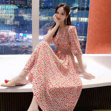 Creative Korean version of Sweet Temperament Women's Dresses in Spring and Summer of 2019 Other Basic V-collar Dresses