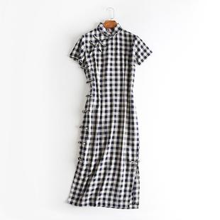 棉麻色織格紋民國風復古改良修身中長款短袖旗袍連衣攝影日常旗袍
