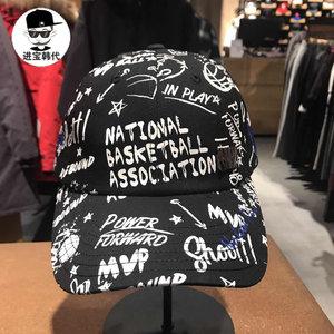进宝韩代 <span class=H>NBA</span>正品棒球帽<span class=H>帽子</span>男女黑色图案百搭潮人嘻哈可调节鸭舌