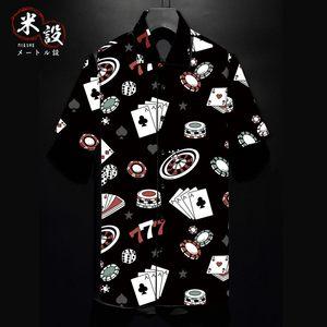 麻将牌扑克牌欧美街头潮牌日花衬衫短袖男修身<span class=H>衬衣</span>休闲夏威夷衬衫