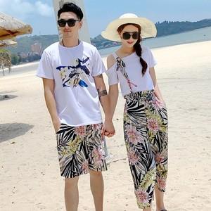 沙滩情侣装海南三亚泰国海边度假蜜月阔腿裤沙滩t恤男女两件套装