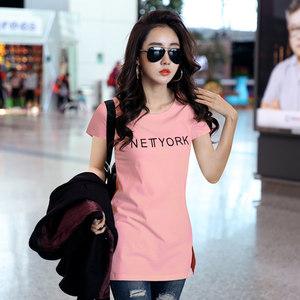 2019夏季新款短袖T恤女中长款纯棉白色韩版修身上<span class=H>衣服</span>半袖打底衫