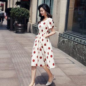 波点<span class=H>连衣裙</span>2019新款夏装宽松裙子小个子韩版红色点收腰显瘦复古裙