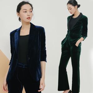 金丝绒休闲西装套装女2018新款<span class=H>时尚</span>春秋季韩版职业西服套装两件套
