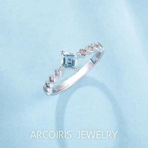 Arcoiris纯天然海蓝宝925银镀白金戒指女款时尚个性礼物原创设计