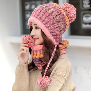 韩版<span class=H>帽子</span>女冬天保暖针织帽甜美可爱百搭毛线帽冬季<span class=H>围脖</span>一体防寒帽