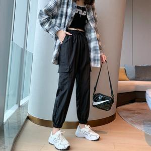 超火工装裤女夏季薄款显瘦运动速干休闲裤子