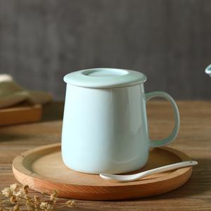 马克杯大容量简约清新陶瓷杯子带盖带勺新骨瓷创意家用纯色水杯