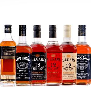 洋酒6瓶<span class=H>威士忌</span>组合 黑钻+乐弗+保加利*3瓶+杰克俱乐部<span class=H>威士忌</span>