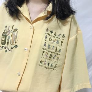自制雪纺 工艺刺绣<span class=H>芒果</span>黄超级无敌显白翻领单排扣宽松可爱衬衫上