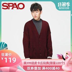 SPAO男士<span class=H>毛衣</span>早秋新品开衫<span class=H>毛衣</span>青年撞色V领针织衫<span class=H>毛衣</span>SPCK849C05