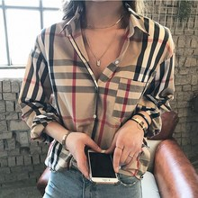 Pure cotton checked shirt women's loose Korean version of leisure medium-long slim, large-size jacket new style in spring and Autumn